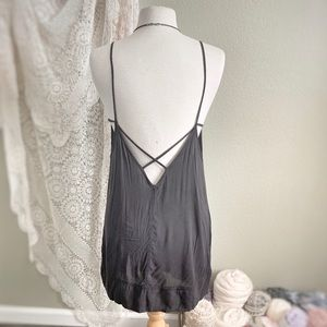 FREE PEOPLE | Black Strappy Low Back Slip Dress